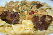 Beef in Sauerkraut over Pasta